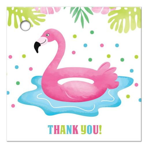 Flamingo Pool Party Tropical Thank you Gift Tags or Party Favor Tags