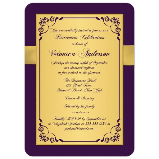 Purple, gold, and ​white floral 40 year retirement party invite for a woman with gold flowers and gold ribbon.