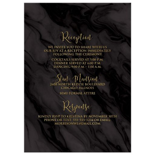 ​Black and gold marble and foliage wreath Always & Forever wedding invites with gold leaves and branches.