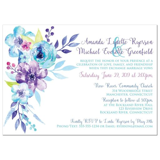 ​Purple, teal, turquoise, aqua blue, pink, and lime green and white watercolor Floral wedding invitation with flowers and leaves.