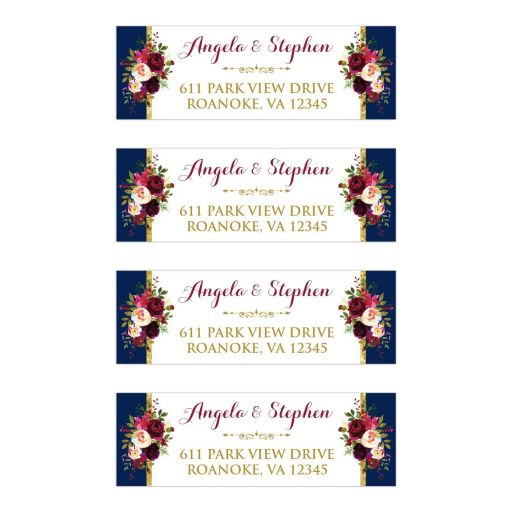 Elegant Navy blue, burgundy, gold, and white watercolor flowers and foliage wedding return address mailing labels.