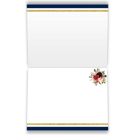 ​Navy blue, gold, burgundy wine, white striped wedding thank you card with watercolor flowers and garland.