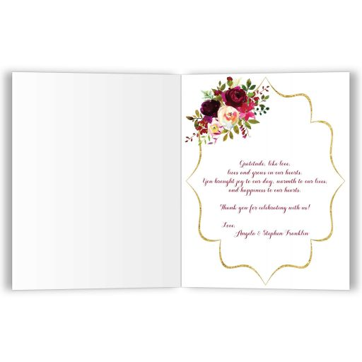 ​Personalized navy blue, gold, burgundy wine, white striped wedding thank you card with monogram and watercolor flowers.