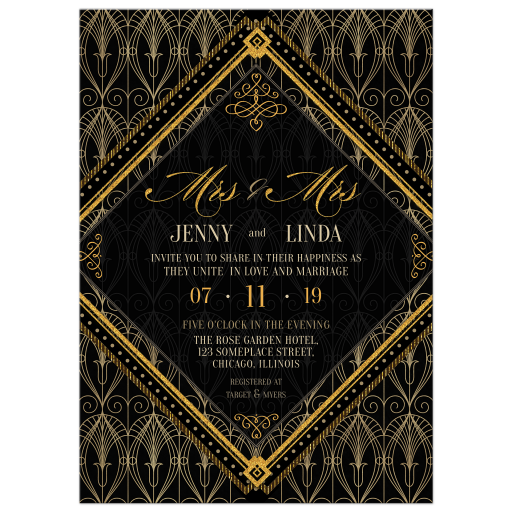 Black and Gold Art Deco Wedding Invitation