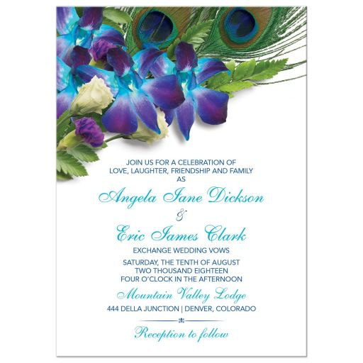 Blue Dendrobium orchid peacock feather wedding invitation