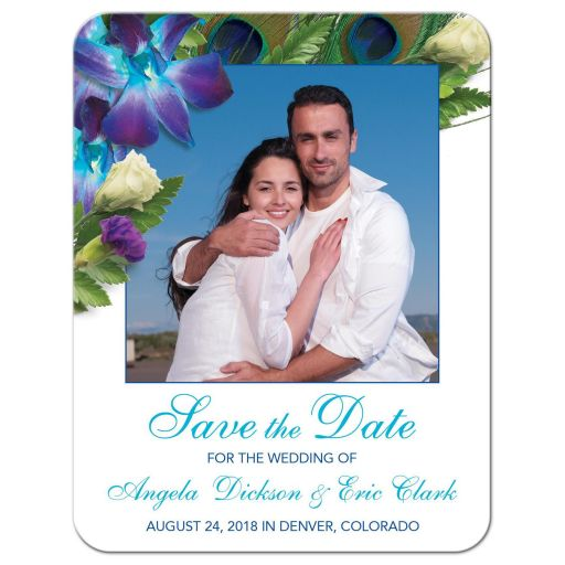 Blue Dendrobium orchid bouquet and peacock feather photo wedding save the date card front
