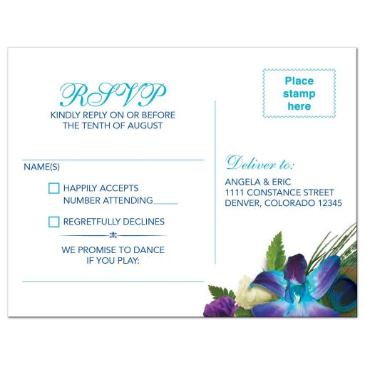Peacock feather and blue Dendrobium orchid bouquet and wedding RSVP postcard back
