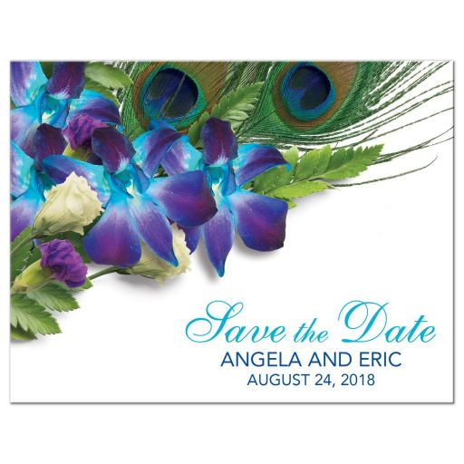Blue Dendrobium orchid bouquet and peacock feather wedding save the date postcard front