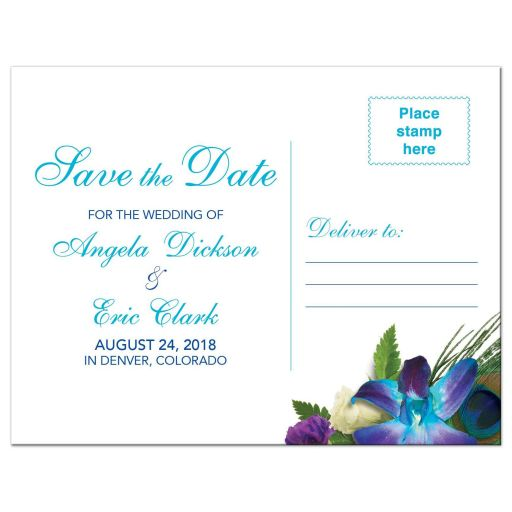 Blue Dendrobium orchid bouquet and peacock feather wedding save the date postcard back