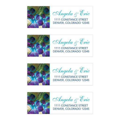 Blue Dendrobium orchid bouquet and peacock feather wedding address labels.