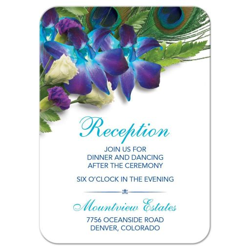 Blue Dendrobium orchid bouquet and peacock feather wedding reception card