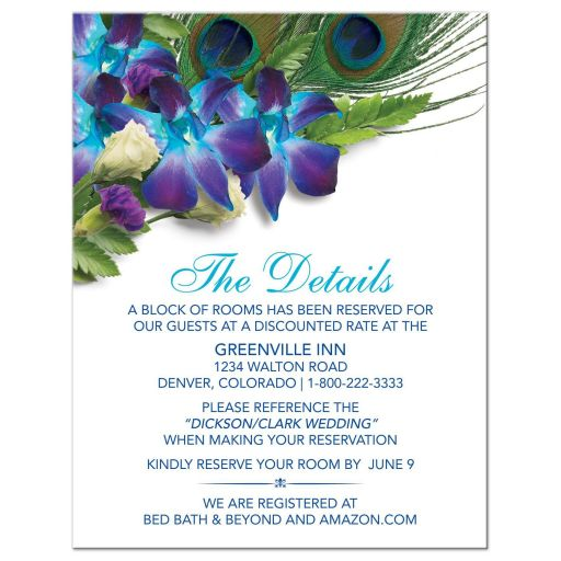 Blue Dendrobium orchid peacock feather wedding details card