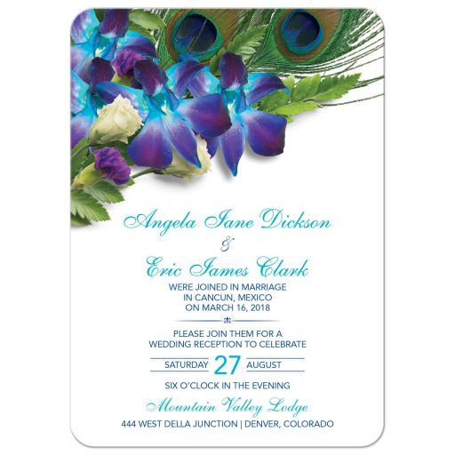 ​Blue Dendrobium orchid bouquet and peacock feather post wedding reception only invitation front