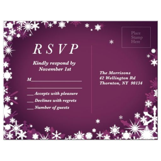 Purple Winter Wedding RSVP Postcard with Snowflakes