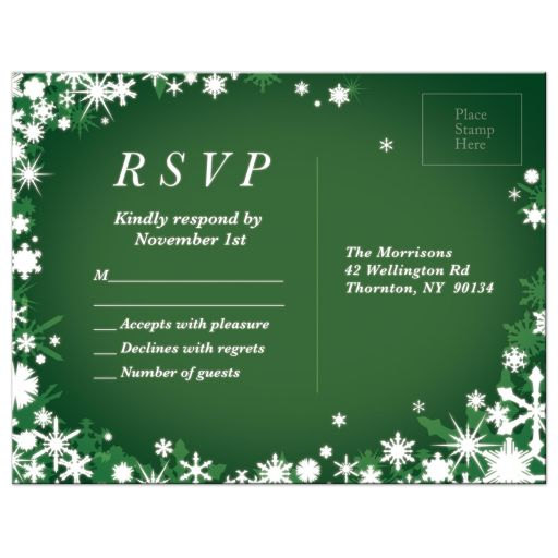 Green Winter Wedding RSVP with Snowflakes