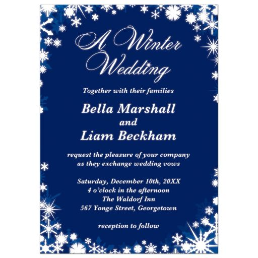 Dark Blue Winter Wedding Invitations with Snowflakes