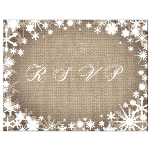 Burlap Winter Wedding RSVP Postcard with Snowflakes
