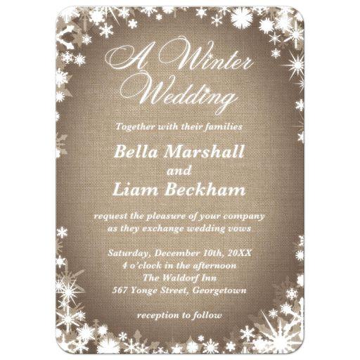 Burlap Winter Wedding Invitation with Snowflakes