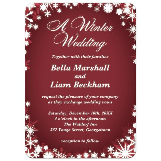 Red Winter Wedding Invitations with Snowflakes