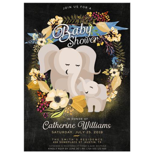Cute elephants boho flowers baby shower invitation