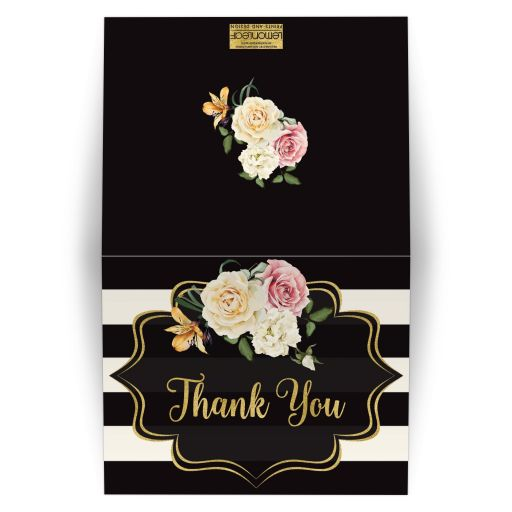 ​Black and ivory bold striped bridal shower, wedding shower or couples shower thank you card with vintage cream, yellow, and pink roses, orange lilies and gold foil.