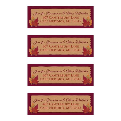 Personalized wedding return address mailing labels in Kraft paper and wine color with autumn leaves in red, orange, green, yellow, and gold.