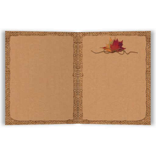 Burlap and Kraft paper Fall in Love wedding thank you card with a burgundy wine ribbon, orange painted wood heart, a twine bow, and burnt orange, red and rust autumn leaves on it.