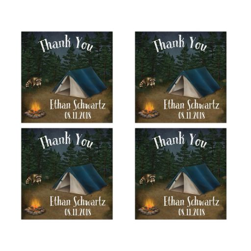 Personalized camping tenting outdoors campsite Bar or Bat Mitzvah favor stickers with a tent, fire pit and raccoon.