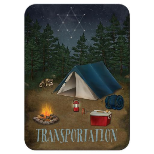Best camping, fishing, tenting, campground Bar Mitzvah or Bat Mitzvah enclosure card insert with trees, tent, campfire, night sky, raccoon, sleeping bag, cooler, hot dogs, S'mores, buffalo plaid, and Star of David.