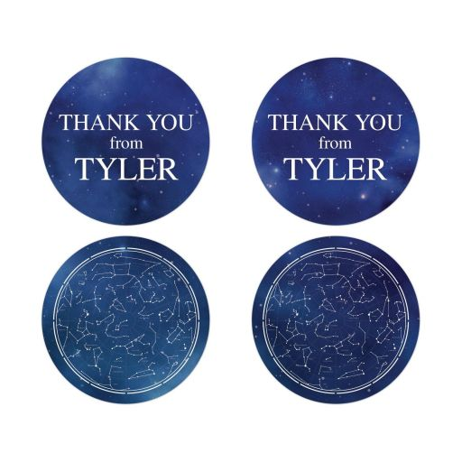 Constellation Outer Space Bar Bat Mitzvah Thank You Stickers