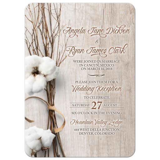 ​Trendy rustic cotton post wedding reception only invitation with twigs and wood background front