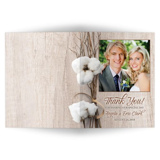 Trendy rustic cotton photo wedding thank you card with twigs wrapped in ribbon and simulated wood background