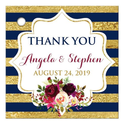 ​Personalized navy blue, gold, burgundy wine, white striped wedding favor thank you tag with pre-drilled hole, watercolor flowers and garland.
