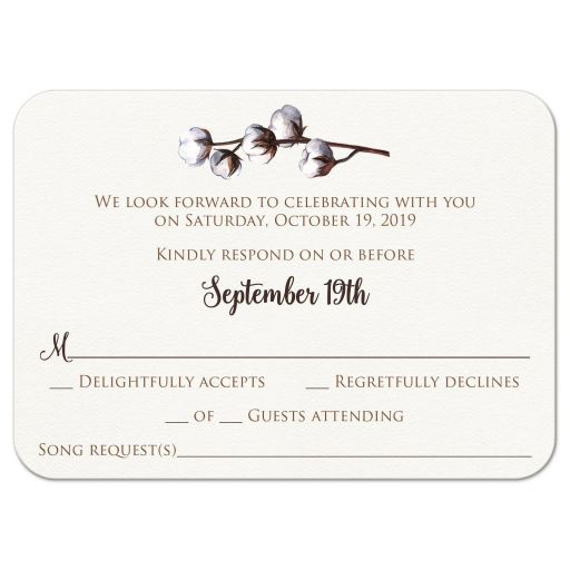 ​Rustic brown and white cotton stem or branch wedding response RSVP enclosure card insert with brown wood.