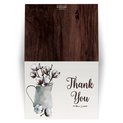​Rustic brown and white watercolor cotton stems and branches wedding thank you card with tin vase pitcher with brown wood.