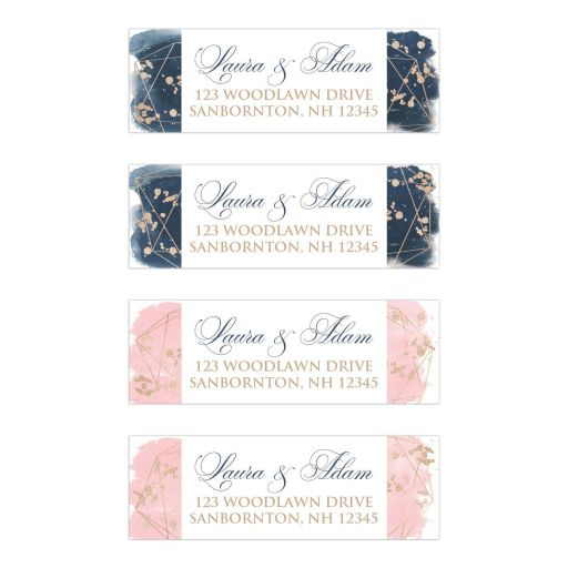 Navy blue, blush pink, white watercolor floral wedding return address mailing labels with rose gold geometric shape and gold dust sprinkles.