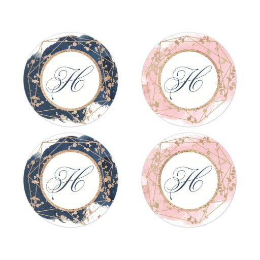 Monogrammed round navy blue, blush pink, white watercolor wedding envelope seals or favor sticker with rose gold geometric shape and gold dust sprinkles.