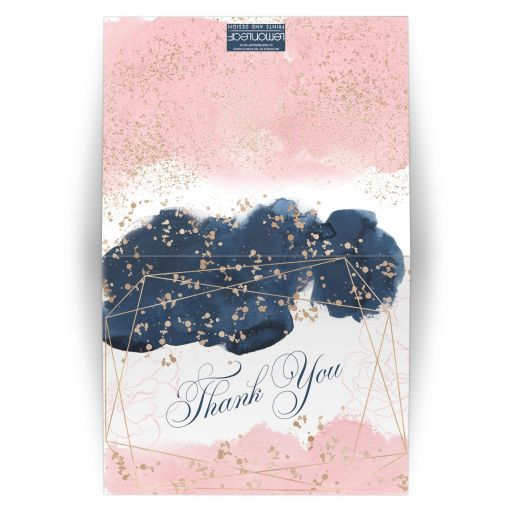 ​Navy blue, blush pink, white watercolor floral wedding thank you card with rose gold geometric shape and gold dust sprinkles.
