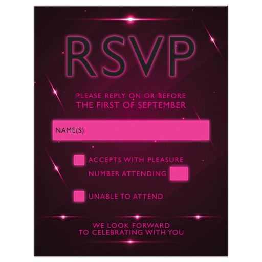 Pink Purple Futuristic NightClub Bat Mitzvah RSVP Card