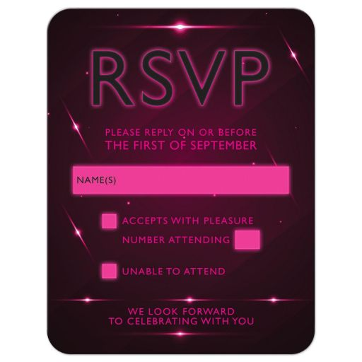 Unique hot pink and eggplant purple futuristic nightclub poster style Bat Mitzvah RSVP card