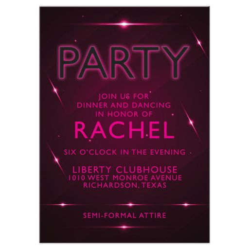 Unique hot pink and eggplant purple futuristic nightclub poster style Bat Mitzvah reception party insert card