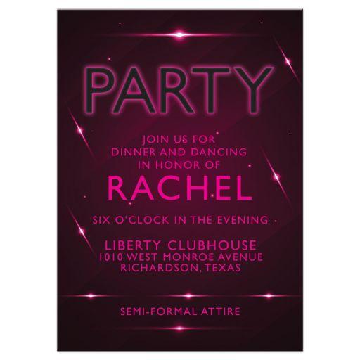 Pink Purple Futuristic NightClub Bat Mitzvah Reception Card