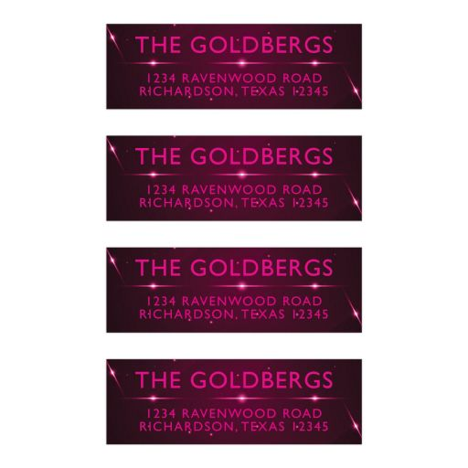 Pink Purple Futuristic NightClub Bat Mitzvah Address Labels