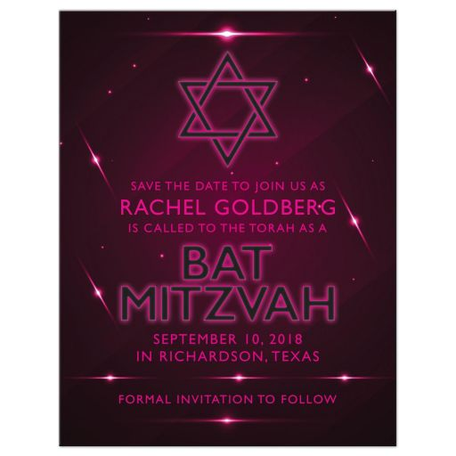 Pink Purple Futuristic NightClub Bat Mitzvah Save the Date Announcement