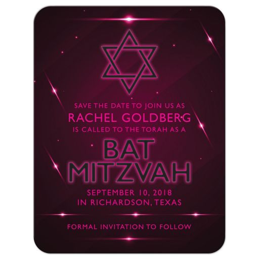 Unique hot pink and eggplant purple futuristic nightclub poster style Bat Mitzvah save the date card