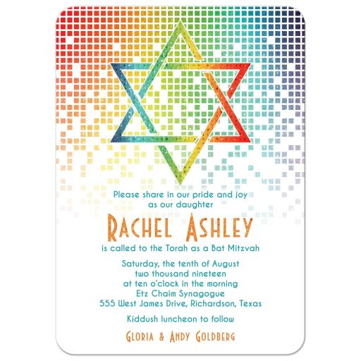 Cascading pixels rainbow Bat Mitzvah invitation with rainbow Star of David