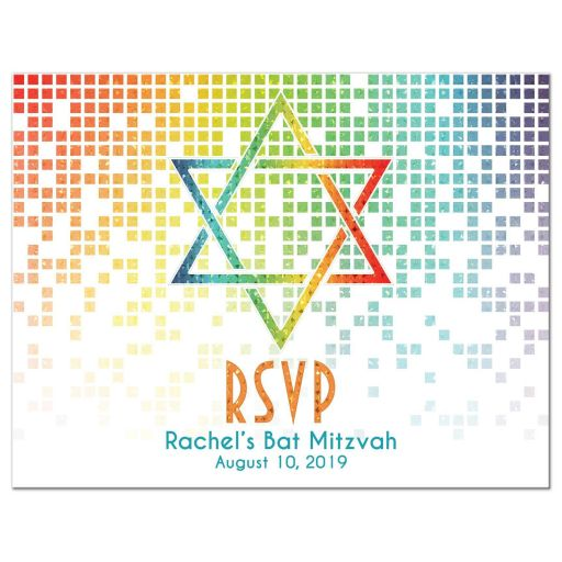 Cascading pixels rainbow Bat Mitzvah RSVP postcard with rainbow Star of David front