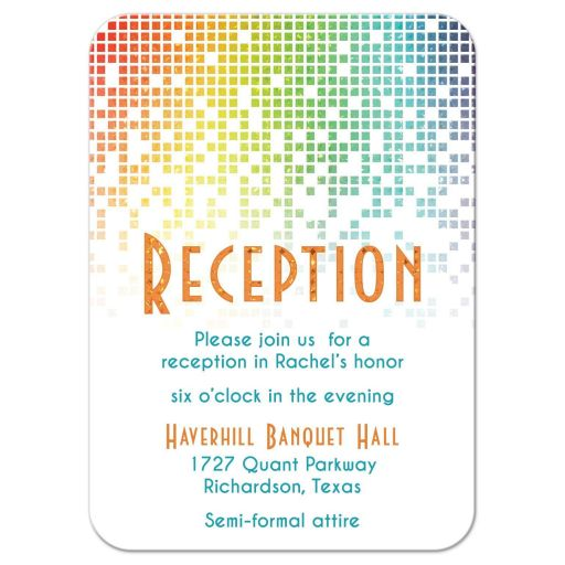 ​Cascading pixels rainbow Bat Mitzvah reception insert card