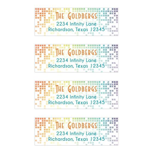 Cascading pixels rainbow Bat Mitzvah return address labels