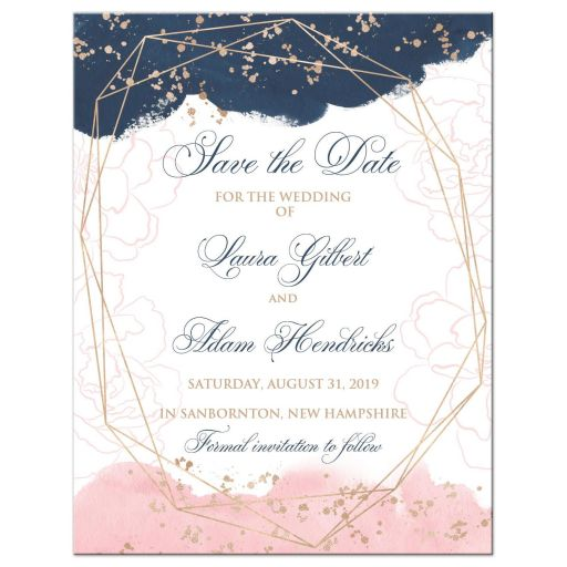 Indigo navy blue, blush pink, white geometric shape watercolor floral photo template wedding save the date card with rose gold dust sprinkles.